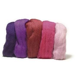 Fésült Merino gyapjú, extra finom, pink árnyalatok, 18 mic, csom. 5 szín á 10g
