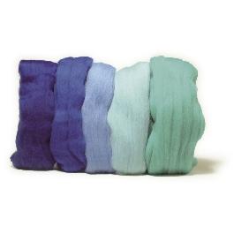 Fésült Merino gyapjú, extra finom, kék árnyalatok, 18 mic, csom. 5 szín á 10g
