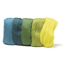 Fésült Merino gyapjú, extra finom, zöld árnyalatok, 18 mic, csom. 5 szín á 10g