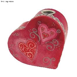 Papírmasé váza: szív,fémbetéttel, mag. 10 cm, 17x15,5x6 cm