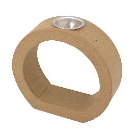 Papírmasé keret kerek 1 gyertyához, 18x19,5x6 cm, alubetéttel, átm. 4,5x1,8 cm