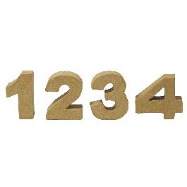 Papírmasé mini számok 1 4, 4x1,5 cm