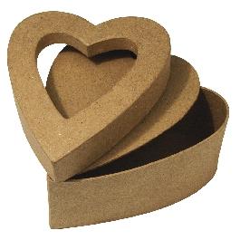 Papírmasé doboz, szív paszpartuval, 13x10x6 cm