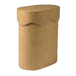 Papírmasé doboz, ovális, 8x13x16 cm, hullámos tetővel
