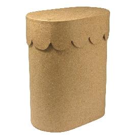 Papírmasé doboz, 8x13x16 cm, ovális