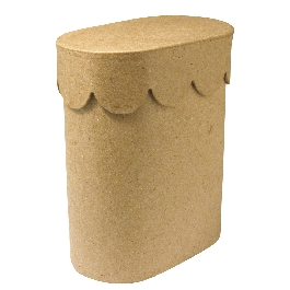 Papírmasé doboz, 6x10x12 cm, ovális