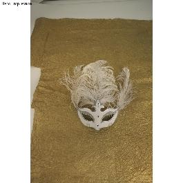 Papírmasé maszk: szemmaszk koronával, 17,5x13,5 cm, gumis