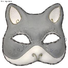 Papírmasé maszk: macska, 18x17 cm, gumis