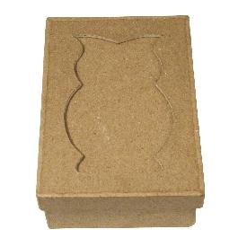 Papírmasé paszpartus doboz, téglalap, 11x8x4 cm, bagoly