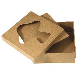 Papírmasé paszpartus doboz, négyzet, 10x10x4 cm, gomba