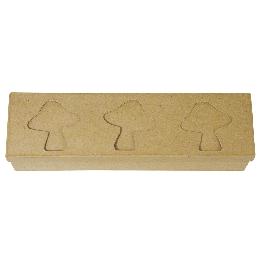 Papírmasé paszpartus doboz, téglalap, 28x8x5 cm, 3 gomba