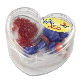 Üveggyöngyök szívdobozban, kék árnyalatok, 36 formagy. + kásagyöngyök