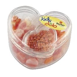 Üveggyöngyök szívdobozban, piros és narancs árnyalatok, 36 formagy. + kásagyöngyök