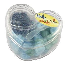 Üveggyöngyök szívdobozban, türkiz árnyalatok, 36 formagy. + kásagyöngyök