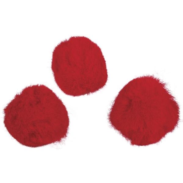 Pomponok, piros, 25 mm, csom. 35 db