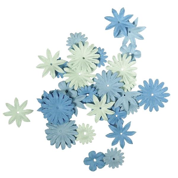 Papírvirágok, kék árnyalatok, 1,5-2,5 cm, 4-féle, tubus 36 db