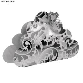 Sablon, felhő,19,8x11,6 cm,1 db