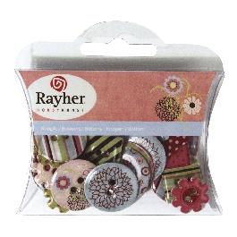 Papírgombok: tavasz, 3 forma, kül.motívumok, 2x2,5 cm,30 db