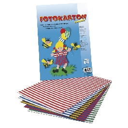 Fotokarton, csíkos, 5-féle szín, 300g/m2, 25x35 cm, 10 ív/mappa