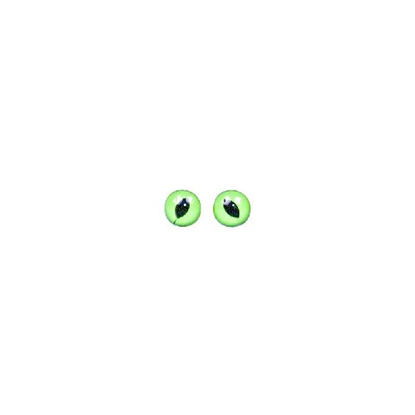 Műanyag macskaszem, zöld/fekete, átm. 8 mm, csom. 10 db, felvarrható