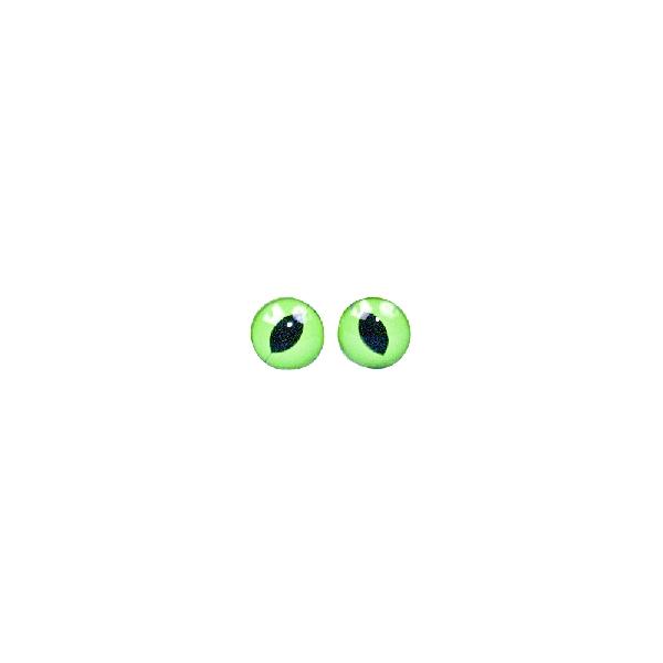 Műanyag macskaszem, zöld/fekete, átm. 10 mm, csom. 10 db, felvarrható
