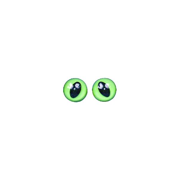 Műanyag macskaszem, zöld/fekete, átm. 12 mm, csom. 6 db, felvarrható