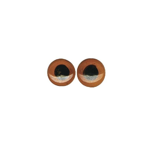 Felvarrható üvegszem, barna, átm. 18 mm, csom. 6 db