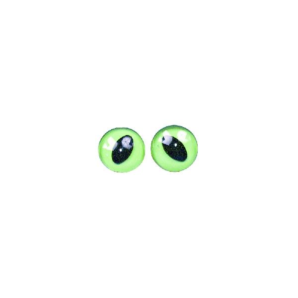 Műanyag macskaszem, zöld/fekete, 14 mm, csom. 4 db, felvarrható