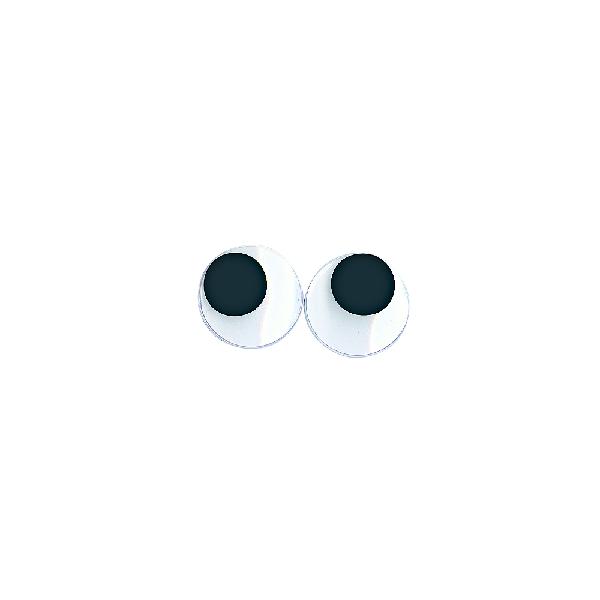 Műanyag mozgó szem ragasztható, fekete/fehér, csom. 10 db, 20 mm