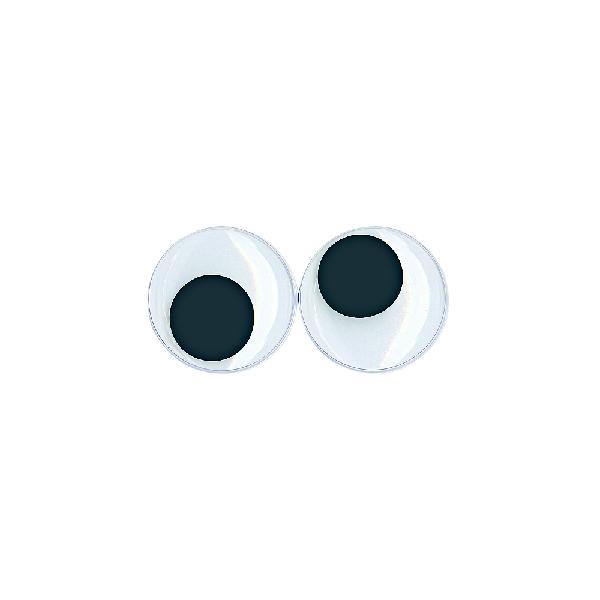 Műanyag mozgó szem ragasztható, 30 mm, csom. 10 db, fekete/fehér