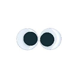 Műanyag mozgó szem ragasztható, 35 mm, csom. 8 db, fekete/fehér