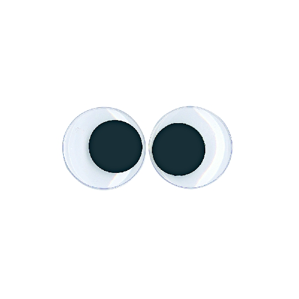 Műanyag mozgó szem ragasztható, 40 mm, csom. 6 db, fekete/fehér