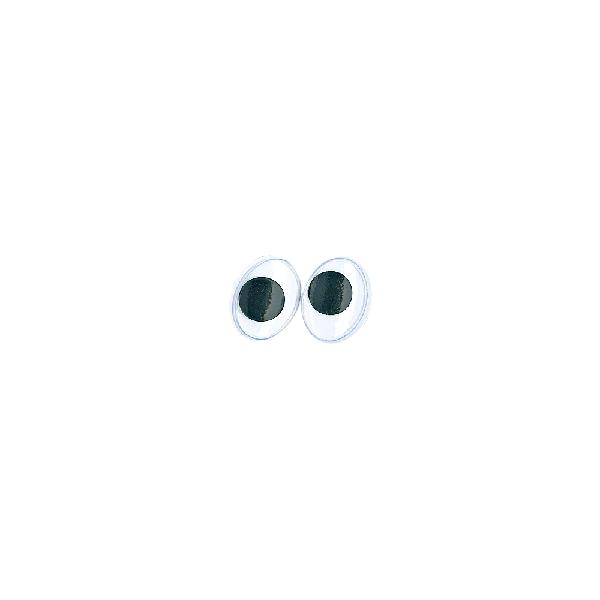 Műanyag mozgó szem ragasztható, 12 mm, csom. 10 db, ovális, fekete/fehér