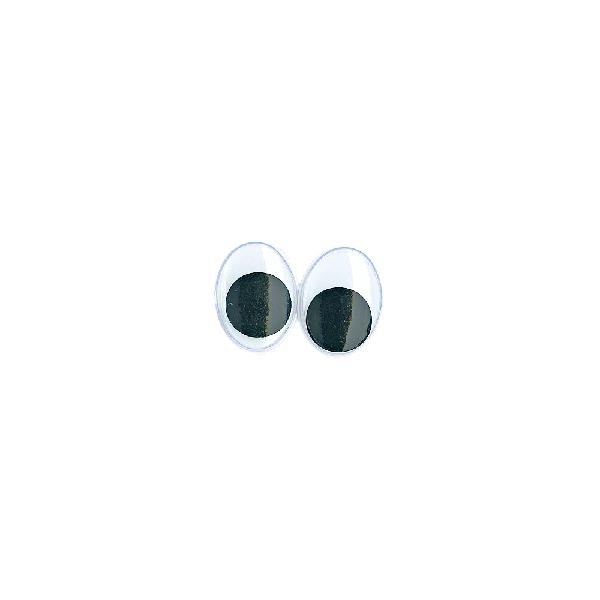 Műanyag mozgó szem ragasztható, 15 mm, csom. 10 db, ovális, fekete/fehér