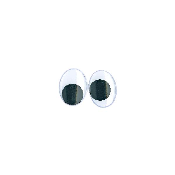 Műanyag mozgó szem ragasztható, 18 mm, csom. 10 db, ovális, fekete/fehér