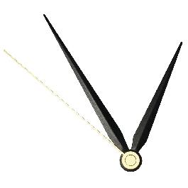 Óramutató, csom. 1 készl.,fekete,70/90 mm, óra-, perc- és másodper cmutatóva