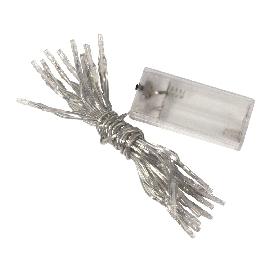LED izzófüzér beltérre, fehér, 220 cm,20 izzó, 2xMignon AA, LR6, 1,5V