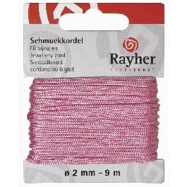 Ékszerzsinór, rózsaszín, átm. 2 mm, 9 m