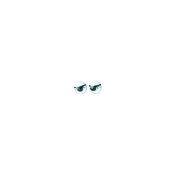 Műanyag mozgó szem szempillákkal, fekete, 7 mm, ragasztható, csom. 10 db