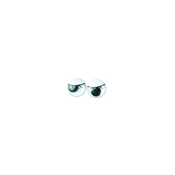 Műanyag mozgó szem szempillákkal, fekete, 10 mm, ragasztható, csom. 10 db