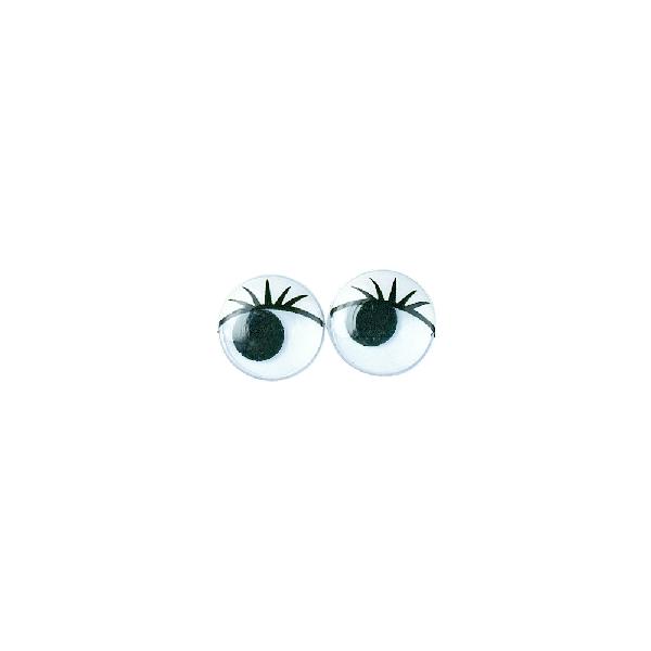 Műanyag mozgó szem szempillákkal, fekete, 15 mm, ragasztható, csom. 8 db