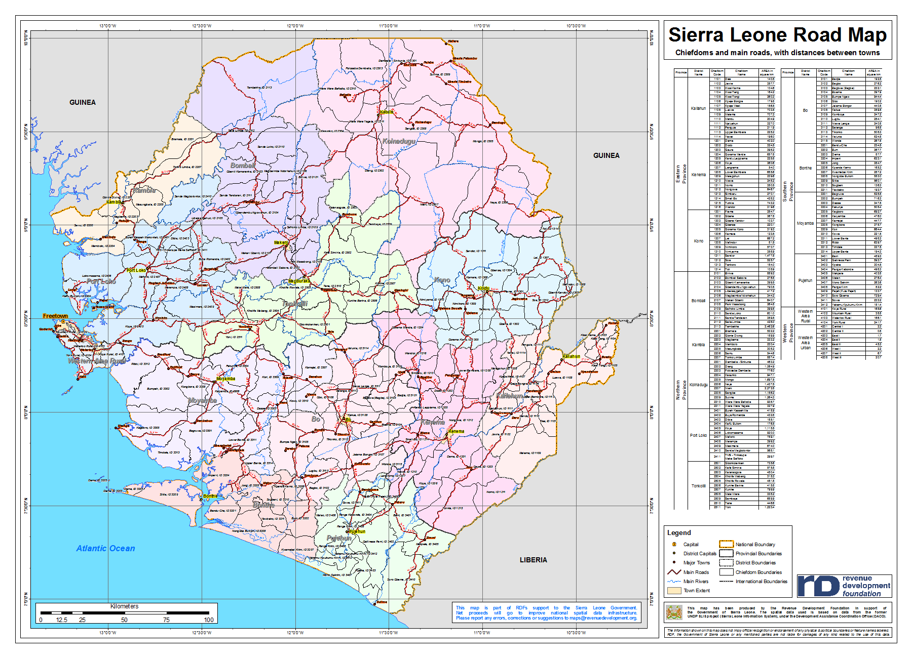 Sierra Leone Maps Full Package Road Map 13 District Planning