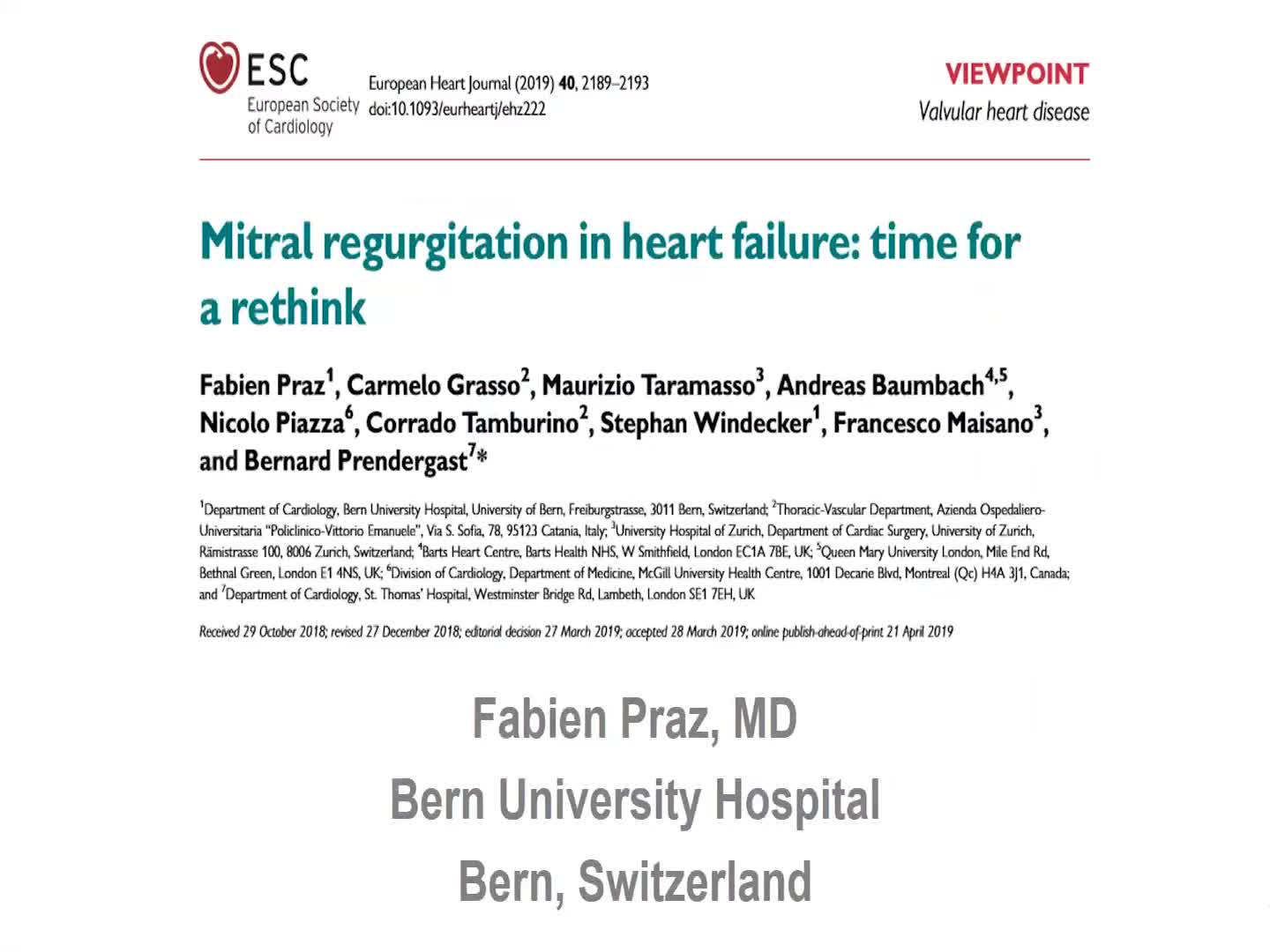 Mitral regurgitation in heart failure: time for a rethink