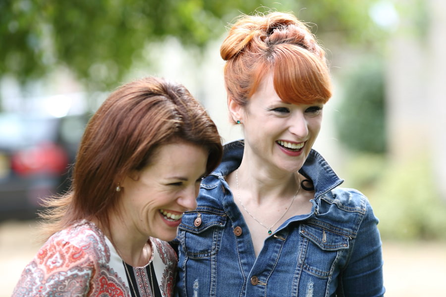 laughter at summer garden party wedding bury st edmunds