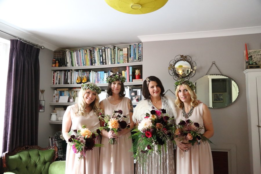 bride and bridesmaids at quirky alternative chic wedding, bishops stortford