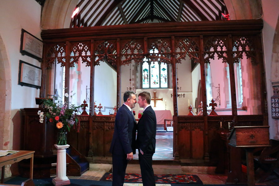waiting at the alter, groom and best man, manuden church