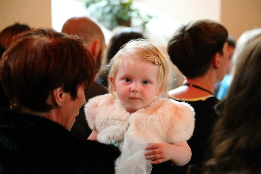 pretty child at manuden church wedding