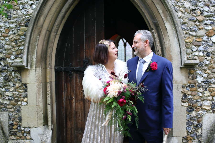 just married at manuden church, essex