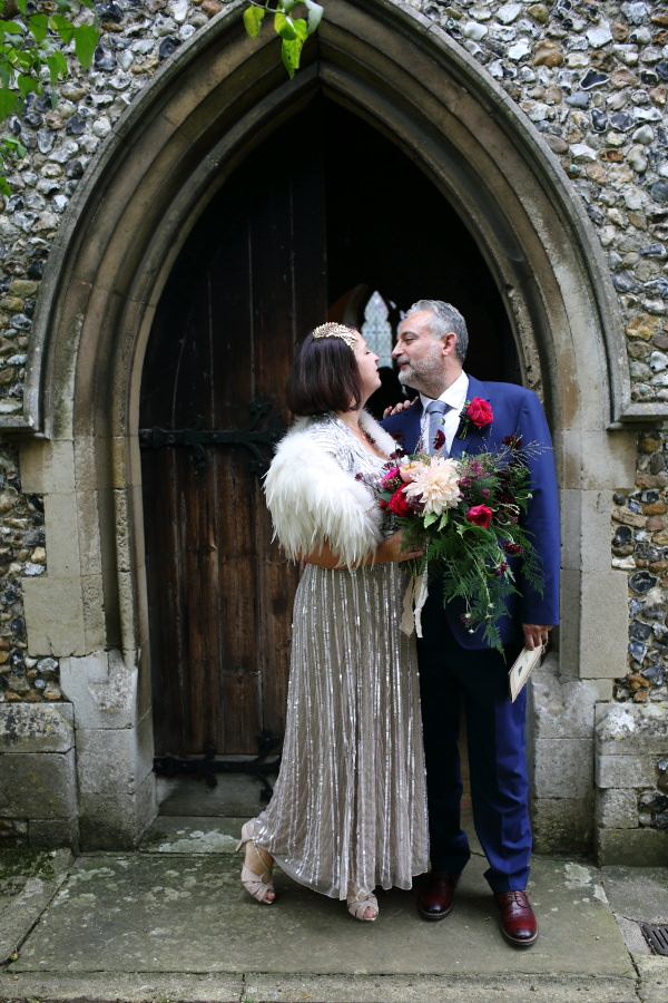 just married, quirky wedding at manuden church