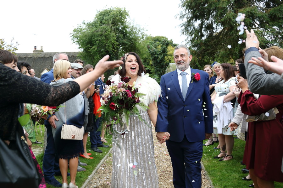 confettii at manuden church, alternative wedding photography